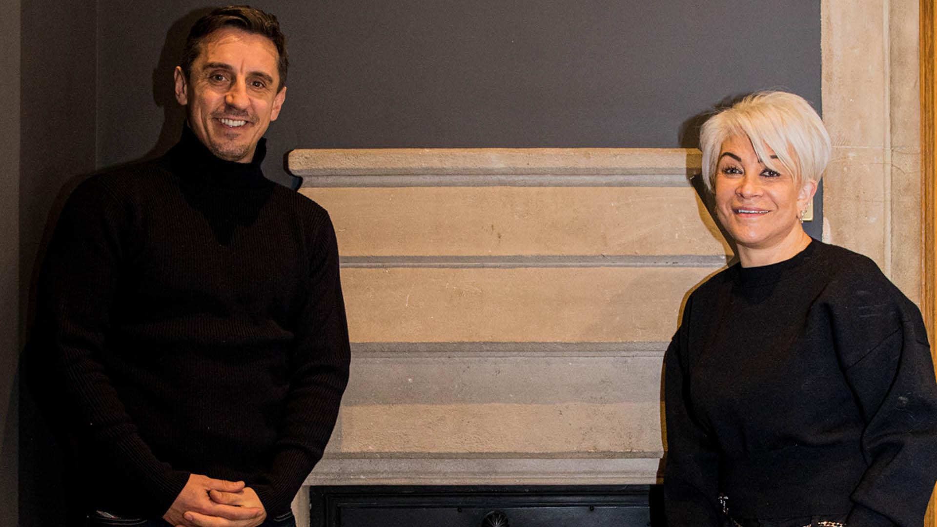 Gary Neville talks with Liz Taylor